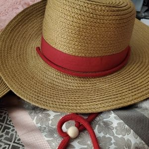 Blue / red ribbon and fabric to hold on thus hat